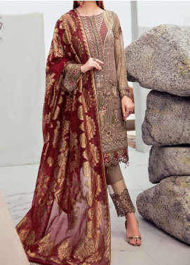 Rangoon by Ramsha Embroidered Chiffon Unstitched 3 Piece Suit RSH20-R6 603 FANTASY RED - Luxury Collection
