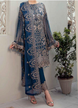 Rangoon by Ramsha Embroidered Chiffon Unstitched 3 Piece Suit RSH20-R6 604 COSMIC MAGIC - Luxury Collection