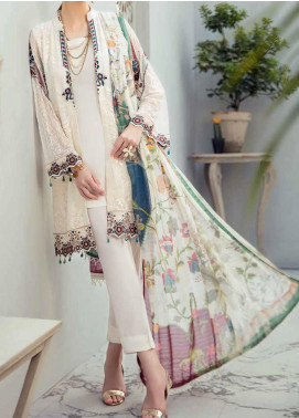 Rangoon by Ramsha Embroidered Chiffon Unstitched 3 Piece Suit RSH20-R6 605 WISDOM PEARLS - Luxury Collection