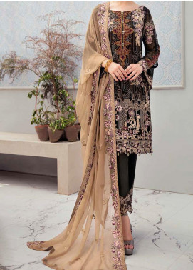Rangoon by Ramsha Embroidered Chiffon Unstitched 3 Piece Suit RSH20-R6 606 BURNT OCHRE - Luxury Collection