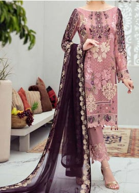 Rangoon by Ramsha Embroidered Chiffon Unstitched 3 Piece Suit RSH20-R6 607 AFTER DUSK - Luxury Collection