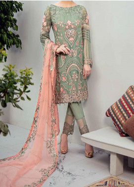 Rangoon by Ramsha Embroidered Chiffon Unstitched 3 Piece Suit RSH20-R6 608 FLIRTY FLAMINGO - Luxury Collection