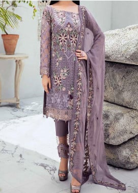 Rangoon by Ramsha Embroidered Chiffon Unstitched 3 Piece Suit RSH20-R6 609 ORCHID PETAL - Luxury Collection