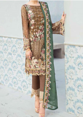 Rangoon by Ramsha Embroidered Chiffon Unstitched 3 Piece Suit RSH20-R6 610 EMERALD CHRONICLES - Luxury Collection