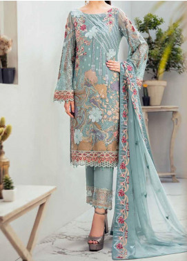 Rangoon by Ramsha Embroidered Chiffon Unstitched 3 Piece Suit RSH20-R6 611 COASTAL CABANE - Luxury Collection