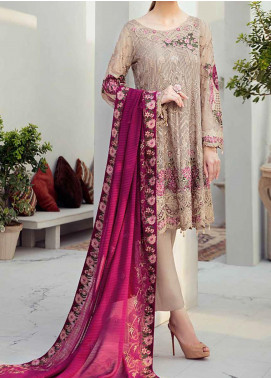 Rangoon by Ramsha Embroidered Chiffon Unstitched 3 Piece Suit RSH20-R6 612 LOVE LATTE - Luxury Collection