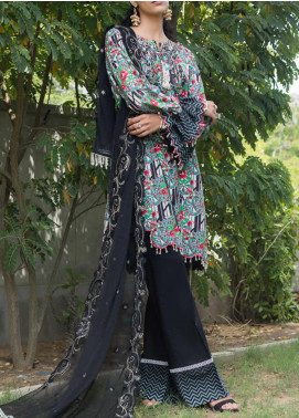 RangReza ZS Textile Embroidered Cotton Unstitched 3 Piece Suit ZS20R 15 - Mid Summer Collection