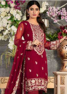 Rani Manan Embroidered Chiffon Unstitched 3 Piece Suit RMA18C 02 - Luxury Collection