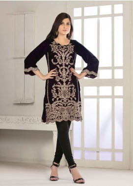 Rani Manan Embroidered Velvet Unstitched Kurties RM18-V2 01 - Winter Collection