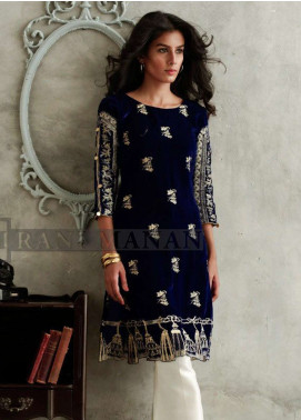 Rani Manan Embroidered Velvet Unstitched Kurties RM18V 01 - Luxury Collection