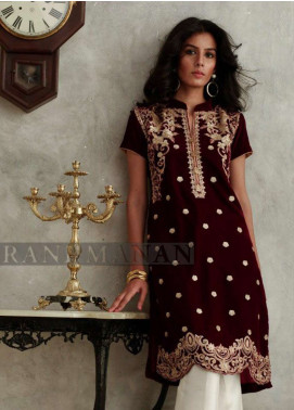 Rani Manan Embroidered Velvet Unstitched Kurties RM18V 02 - Luxury Collection