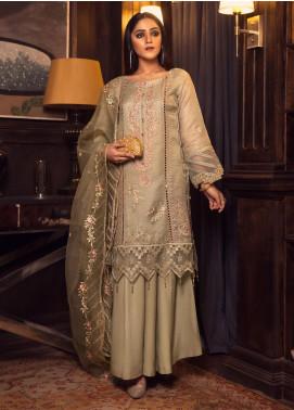 Rashq by Resham Ghar Embroidered Zari Net Unstitched 3 Piece Suit RG21R 02 - Luxury Collection