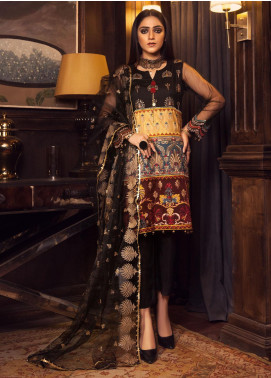 Rashq by Resham Ghar Embroidered Cotton Net Unstitched 3 Piece Suit RG21R 05 - Luxury Collection