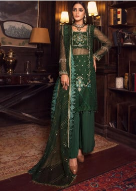 Rashq by Resham Ghar Embroidered Organza Unstitched 3 Piece Suit RG21R 08 - Luxury Collection