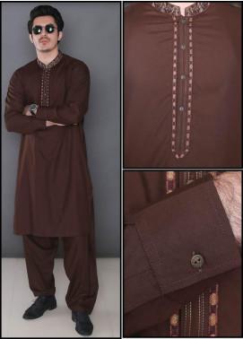 Real Image Wash N Wear Formal Kameez Shalwar for Men -  369 Brown