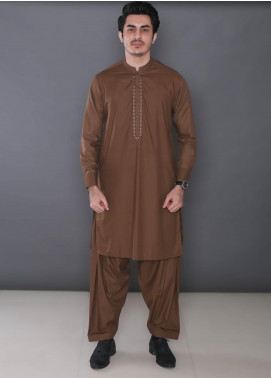 Real Image Wash N Wear Formal Men Kameez Shalwar -  369 Gold