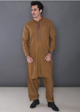 Real Image Wash N Wear Formal Kameez Shalwar for Men -  384 Brown