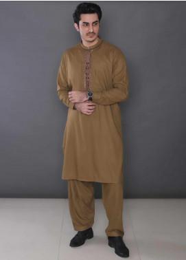 Real Image Wash N Wear Formal Men Kameez Shalwar -  385 Brown
