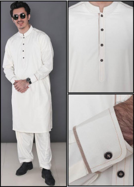 Real Image Wash N Wear Formal Men Kameez Shalwar -  386 Cream