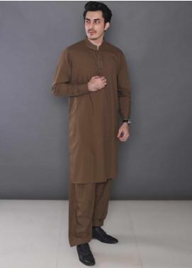 Real Image Wash N Wear Formal Men Kameez Shalwar -  389 Brown