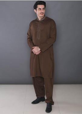 Real Image Wash N Wear Formal Kameez Shalwar for Men -  390 Brown
