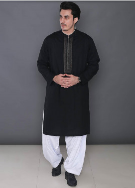 Real Image Cotton Formal Kurtas for Men -  343 Black