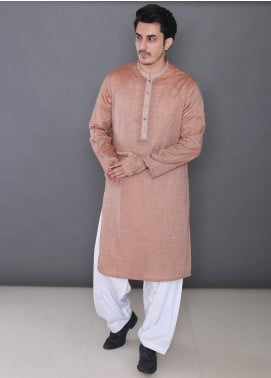 Real Image Cotton Formal Men Kurtas -  394 Brown