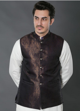 Real Image Jacquard Textured Men Waistcoats -  W-29 Purple