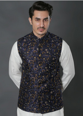 Real Image Jacquard Embroidered Waistcoats for Men -  W-30 Blue