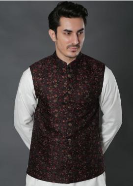 Real Image Jacquard Textured Men Waistcoats -  W-31 Maroon