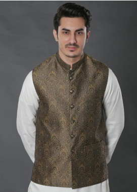 Real Image Jacquard Textured Waistcoats for Men -  W-38 Brown