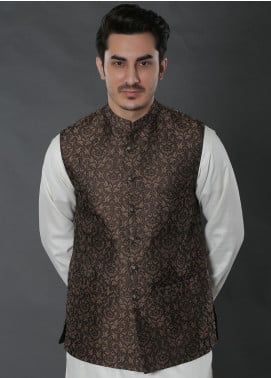 Real Image Jacquard Textured Men Waistcoats -  W-40 Brown