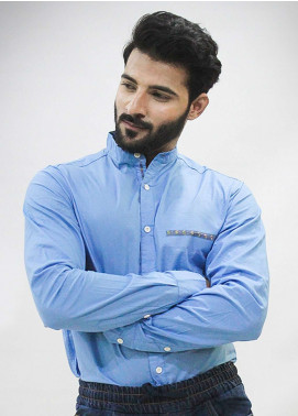 Red Tree Cotton Casual Shirts for Men - Sky Blue RT3057