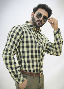 Red Tree Cotton Casual Shirts for Men - Yellow RT3060