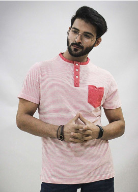 Red Tree Cotton Round Neck T-Shirts for Men - Pink RT1584
