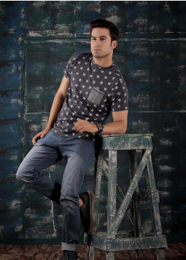 Red Tree Cotton Round Neck T-Shirts for Men - Navy Blue RT1593