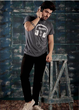 Red Tree Cotton Round Neck T-Shirts for Men - Grey RT1595
