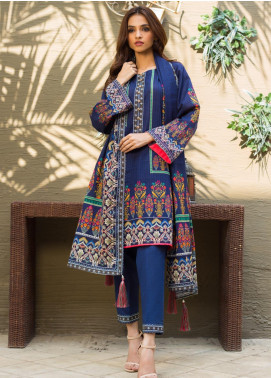 Regalia Textiles Printed Khaddar Unstitched 3 Piece Suit RG19KD 15 - Luxury Collection
