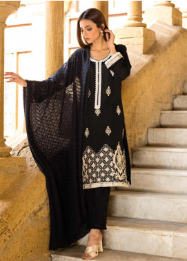 Regalia Textiles Embroidered Lawn Unstitched 3 Piece Suit RG19BW 01 - Black & White Collection