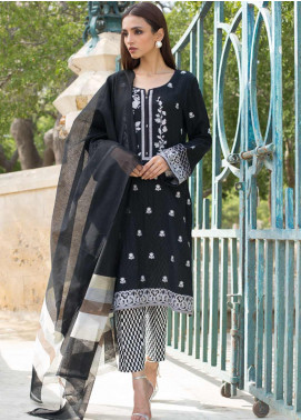 Regalia Textiles Embroidered Lawn Unstitched 3 Piece Suit RG19BW 09 - Black & White Collection