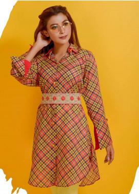 Rehaab by Jaffrani Textiles Embroidered Lawn Stitched Kurtis RHB19P FEC-162 RUSTY BROWN