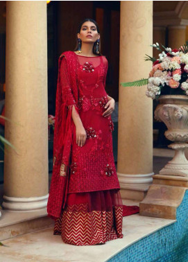 Rehaab by Jaffrani Textiles Embroidered Chiffon Unstitched 3 Piece Suit RHB19WE APPLIQUE DELICACY - Wedding Collection