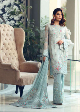 Rehaab by Jaffrani Textiles Embroidered Organza Unstitched 3 Piece Suit RHB19WE LILAC SEQUIN - Wedding Collection