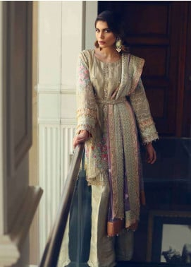 Rehaab by Jaffrani Textiles Embroidered Chiffon Unstitched 3 Piece Suit RHB19WE OYSTER CRAFT - Wedding Collection