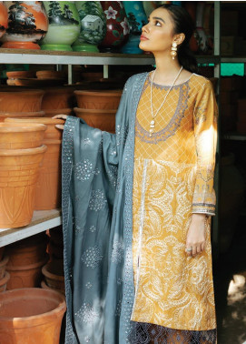 Rehab By Qalamkar Embroidered Jacquard Unstitched 3 Piece Suit QLM19R 05 DORI KARI - Winter Collection