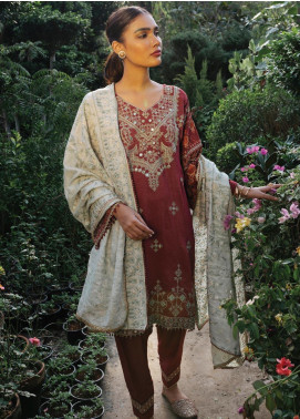 Rehab By Qalamkar Embroidered Jacquard Unstitched 3 Piece Suit QLM19R 06 SHEESHA KARI - Winter Collection