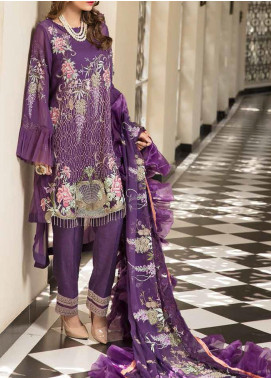 Resham by Sanoor Embroidered Chiffon Unstitched 3 Piece Suit SN20RE 02 - Luxury Collection