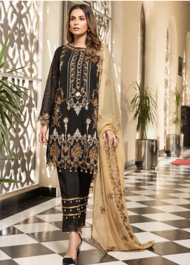 Resham by Sanoor Embroidered Chiffon Unstitched 3 Piece Suit SN20RE 05 - Luxury Collection