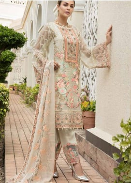 Resham by Sanoor Embroidered Chiffon Unstitched 3 Piece Suit SN20RE 06 - Luxury Collection