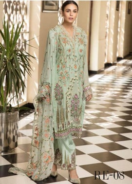 Resham by Sanoor Embroidered Chiffon Unstitched 3 Piece Suit SN20RE 08 - Luxury Collection